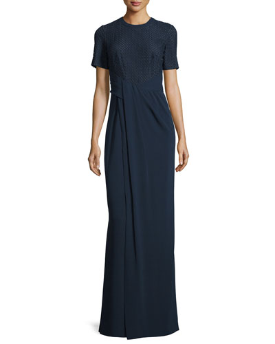 Short-Sleeve Faux-Wrap T-Shirt Gown, Marine