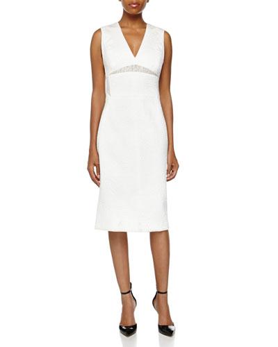 Jacquard V-Neck Sheath Dress, Pearl