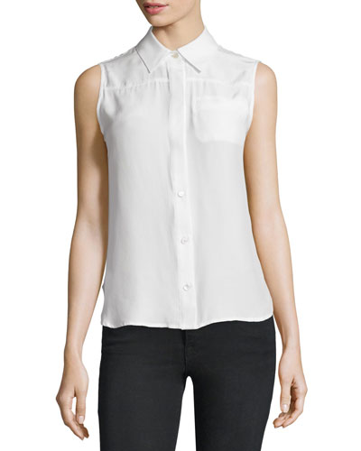 Sleeveless Button-Front Top, Blanc