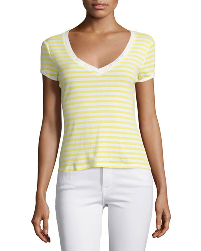 Button V-Neck Striped Tee, Canary