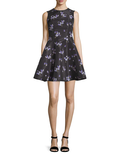 Violet-Print Faille A-Line Dress, Black