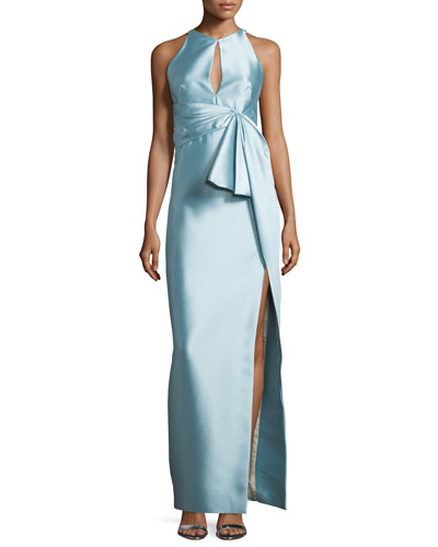Pleated-Waist Column Gown, Azure