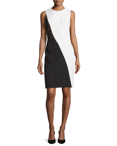 Sleeveless Colorblock Sheath Dress, Ivoire/Noir