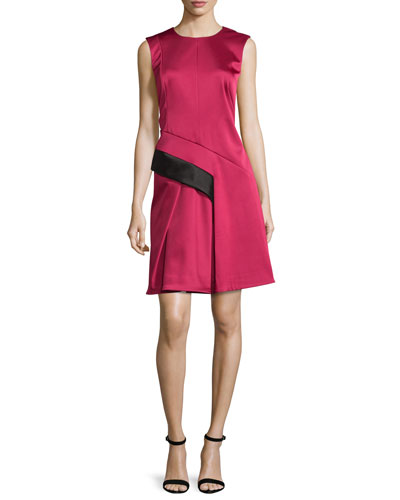 Sleeveless Two-Tone Dress, Fuchsia