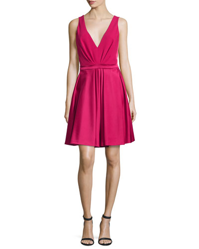 V-Neck Fit-&-Flare Dress, Fuchsia