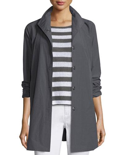 Weather-Resistant Snap-Front A-line Jacket, Petite