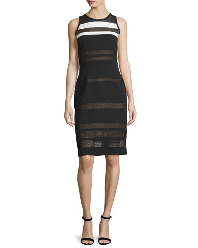 Sleeveless Mixed-Lace Sheath Dress, Noir