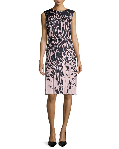 Sleeveless Feline-Print Dress, Kitten Pink/Noir