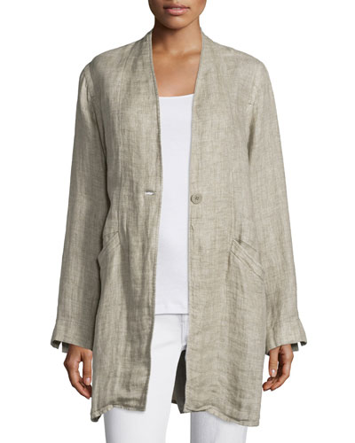 Organic Linen One-Button Coat, Natural, Petite