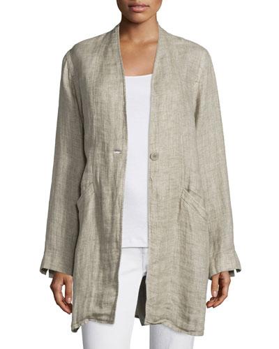 Organic Linen One-Button Coat, Natural, Plus Size