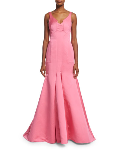 Sleeveless V-Neck Mermaid Gown, Pink
