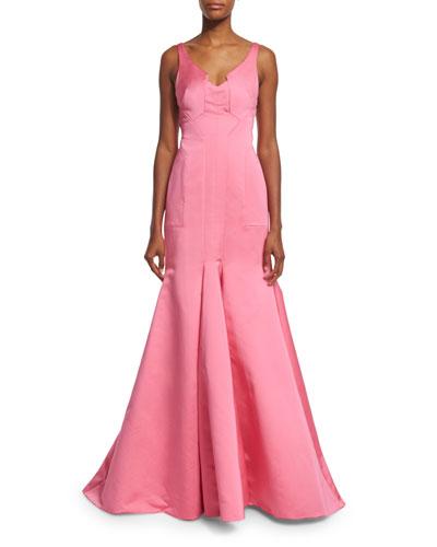 Sleeveless V-Neck Mermaid Gown, Pink
