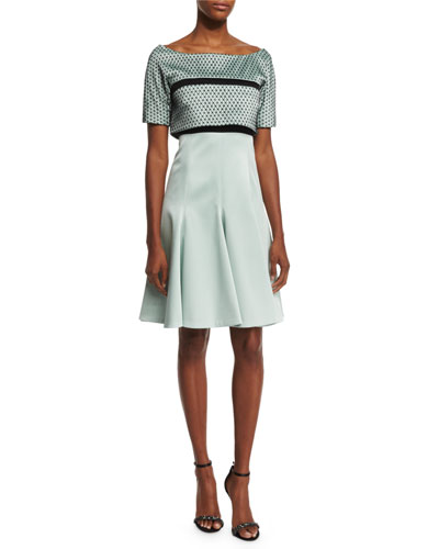 Short-Sleeve Popover Dress, Mint