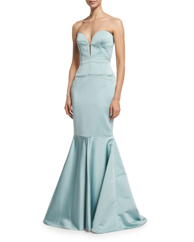 Strapless Bustier Mermaid Gown, Aqua