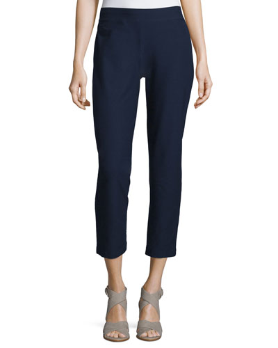 Stretch-Crepe Ankle Pants, Petite