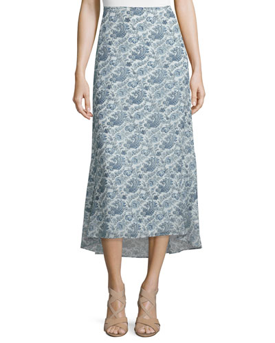 Vivridge Avery Long Floral-Printed Silk Skirt