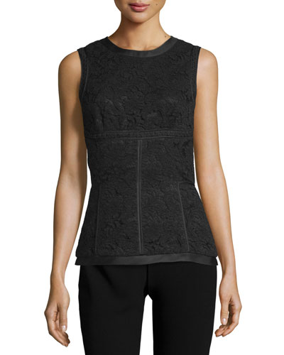 Sleeveless Lace-Panel Top, Noir