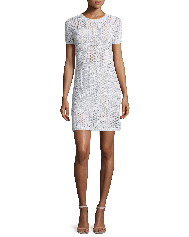 Nenalo Iras Crocheted-Knit Dress, White