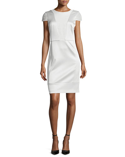 Short-Sleeve Combo Sheath Dress, Ivoire