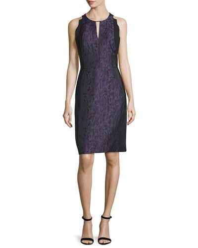 Halter-Neck Sheath Dress, Violet/Noir