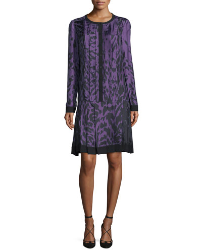 Long-Sleeve Printed Dress, Violet/Noir