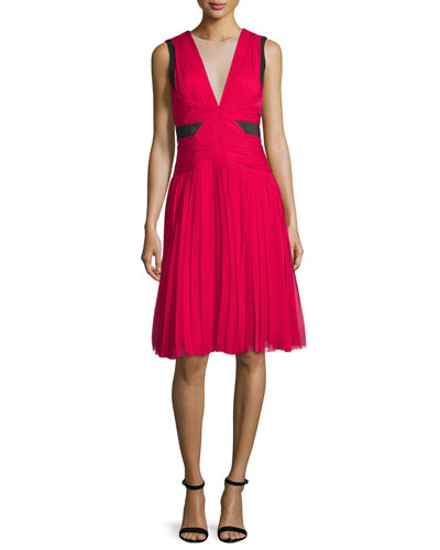 Sleeveless Illusion V-Neck Dress, Fuchsia