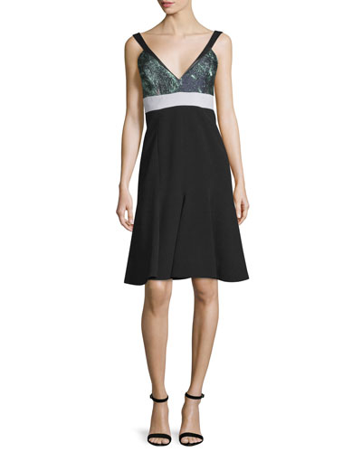 Sleeveless Fit-&-Flare Dress, Noir/Mint