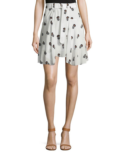 Brien Draped Silk Dahlia Skirt, Eggshell/Black