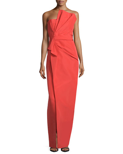 Strapless Fan-Pleated Column Gown, Fire