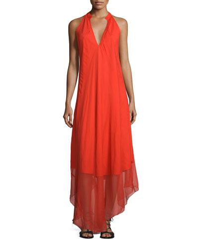 Sleeveless Cutaway Silk Maxi Dress, Flame
