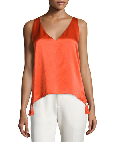 Sleeveless Woven Cross-Back Blouse, Flame