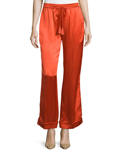 Satin Drawstring Pajama Pants, Flame