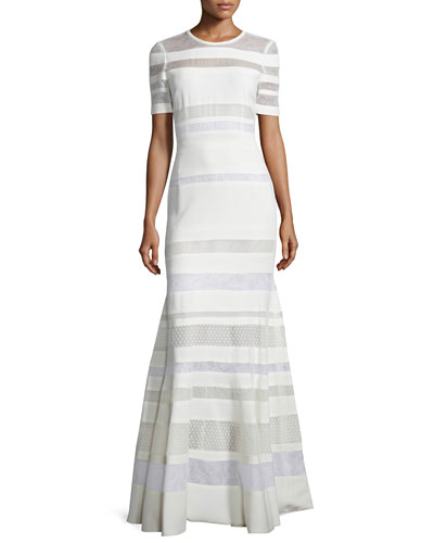 Short-Sleeve Banded-Lace Gown, Ivoire