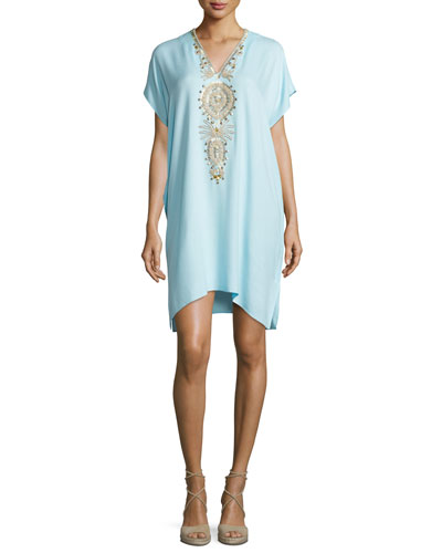 Chai V-Neck Embellished Caftan Dress, Pool Blue