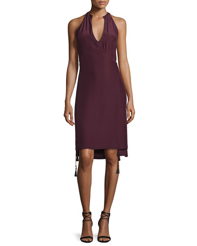 Tassel-Trim Apron Dress, Burnt Raisin