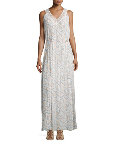Simona Geometric-Print Maxi Dress, Geo Print/Multi