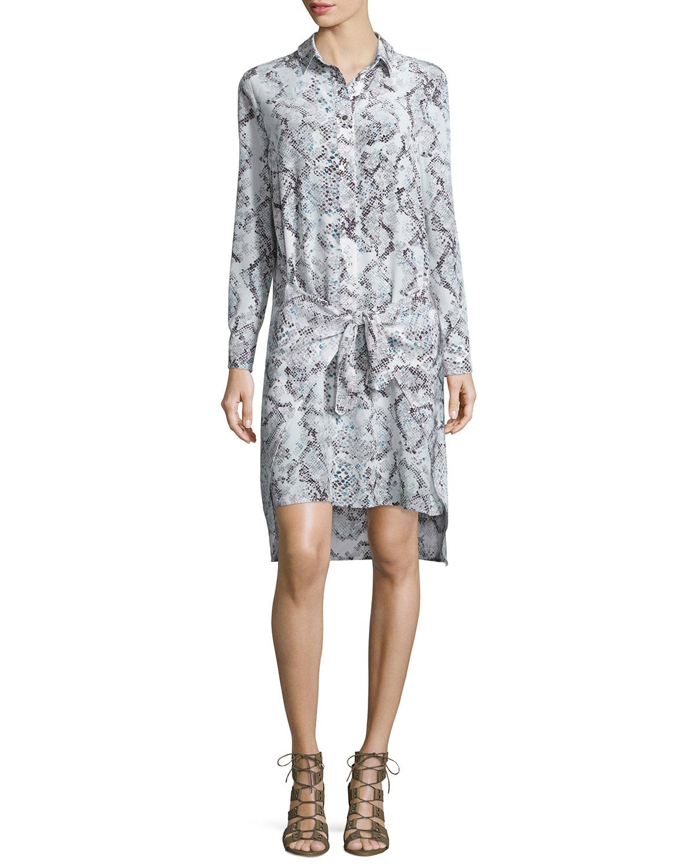 Snake-Print Silk Wrap Dress, Mint