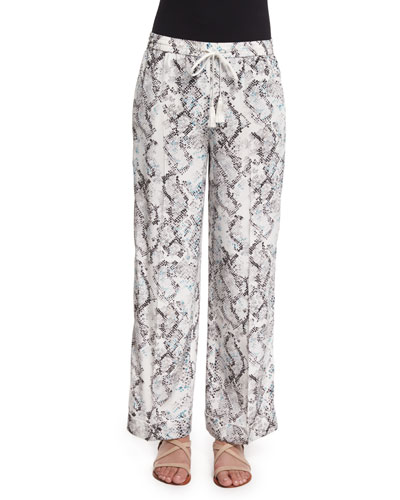 Creased Snake-Print Pajama Pants, Mint