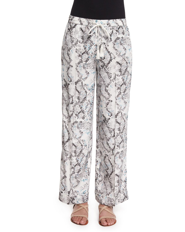 Creased Snake-Print Pajama Pants, Mint