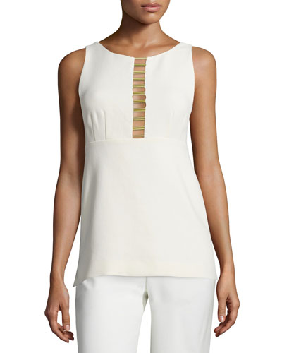 Sleeveless Poplin Metal-Trim Tank, Cream