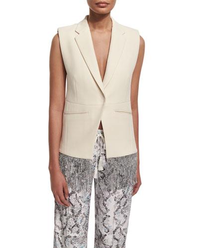 Cotton Fringe-Trim Vest, Cream