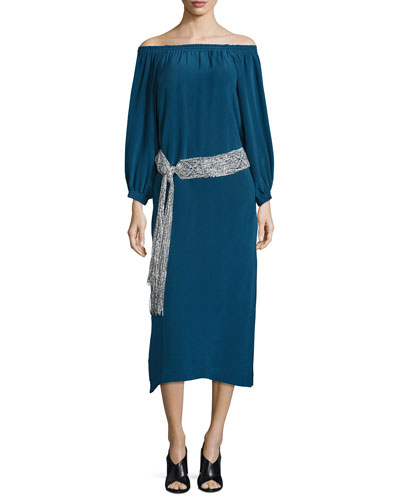 Belted Silk Off-the-Shoulder Midi Dress, Emerald Blue