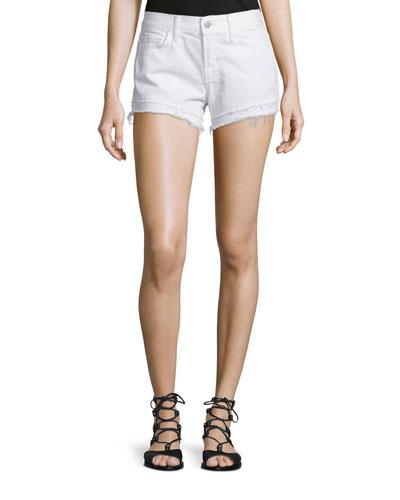 Sachi Low-Rise Cutoff Shorts, White Destruct