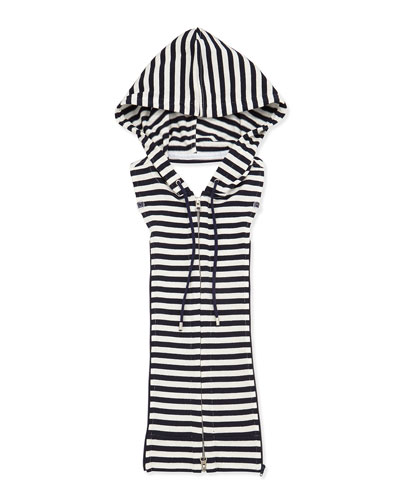 Striped Hoodie Dickey, White/Navy