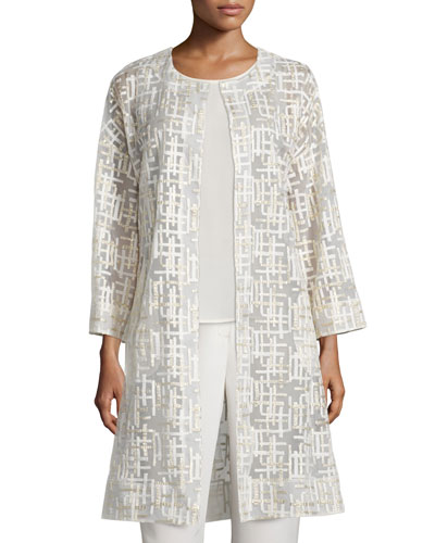 Embroidered Mesh and Crepe Topper Coat