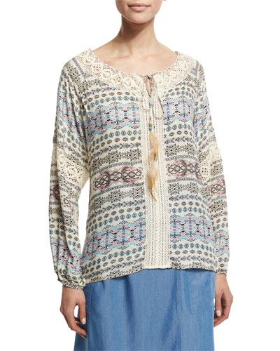 Printed Peasant Top W/ Feather Self-Tie