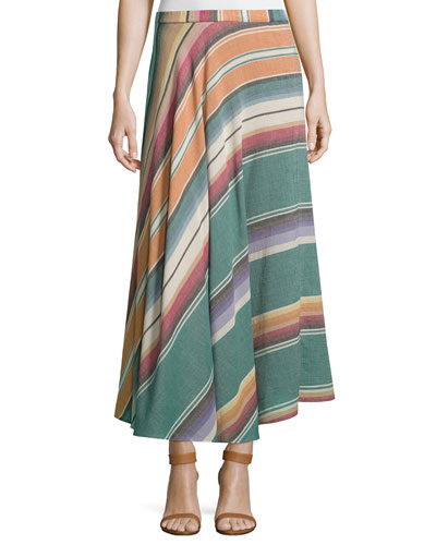 Bias-Cut Striped Cotton Maxi Skirt, Multi