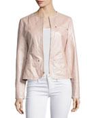 Pearlized Leather Jacket, Blush