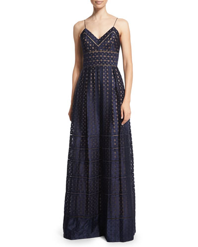 Spotted Organza Spaghetti-Strap Gown, Navy