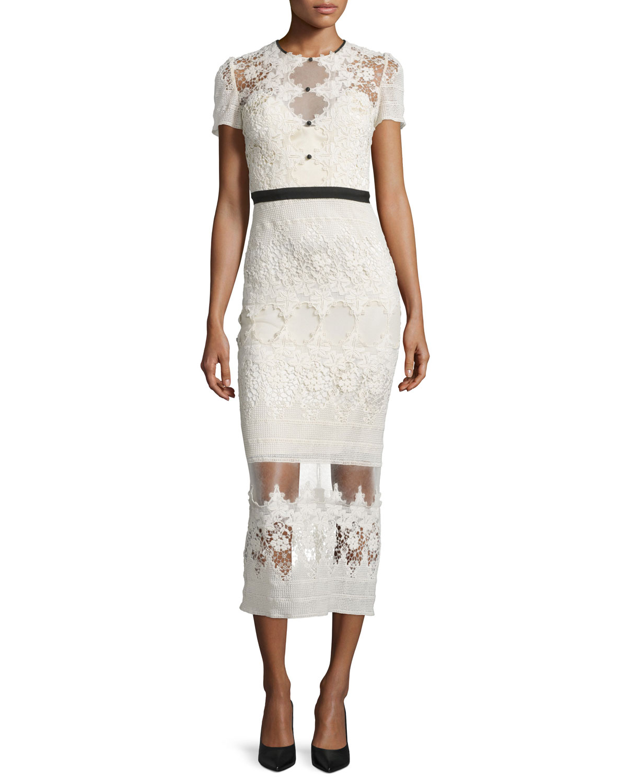 Short-Sleeve Embroidered Lace Midi Dress, Cream